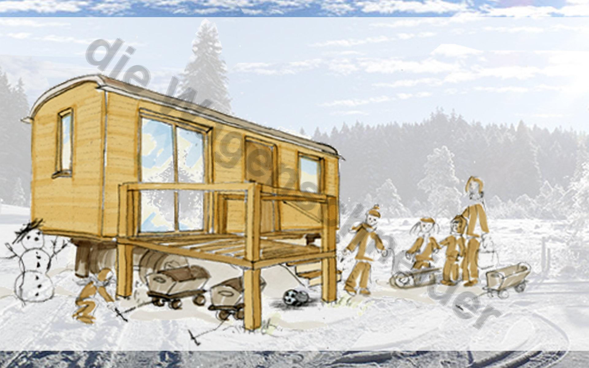 zu einem waldkindergarten geh rt der wagen einfach dazu auch im winter die wagenschneider. Black Bedroom Furniture Sets. Home Design Ideas